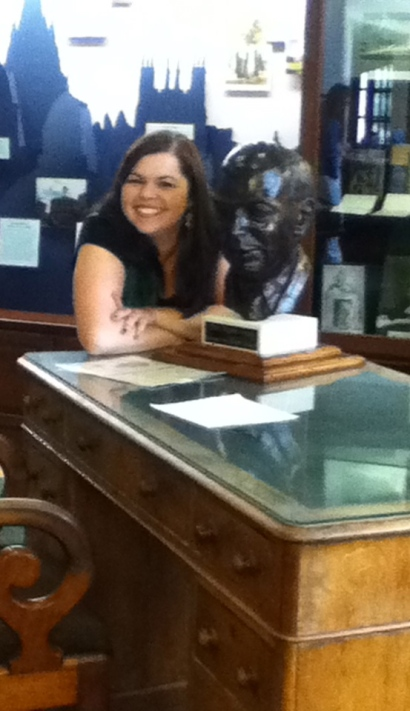 Yours truly, hanging out with Lewis himself (in bust form) at the desk he used at Oxford
