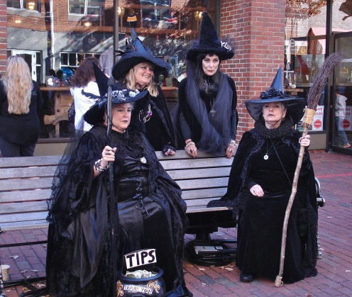 women dressed as Halloween witches in Salem Massachusetts