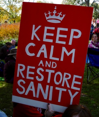 keep calm and restore sanity poster