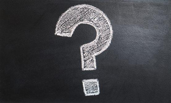 question mark written on blackboard